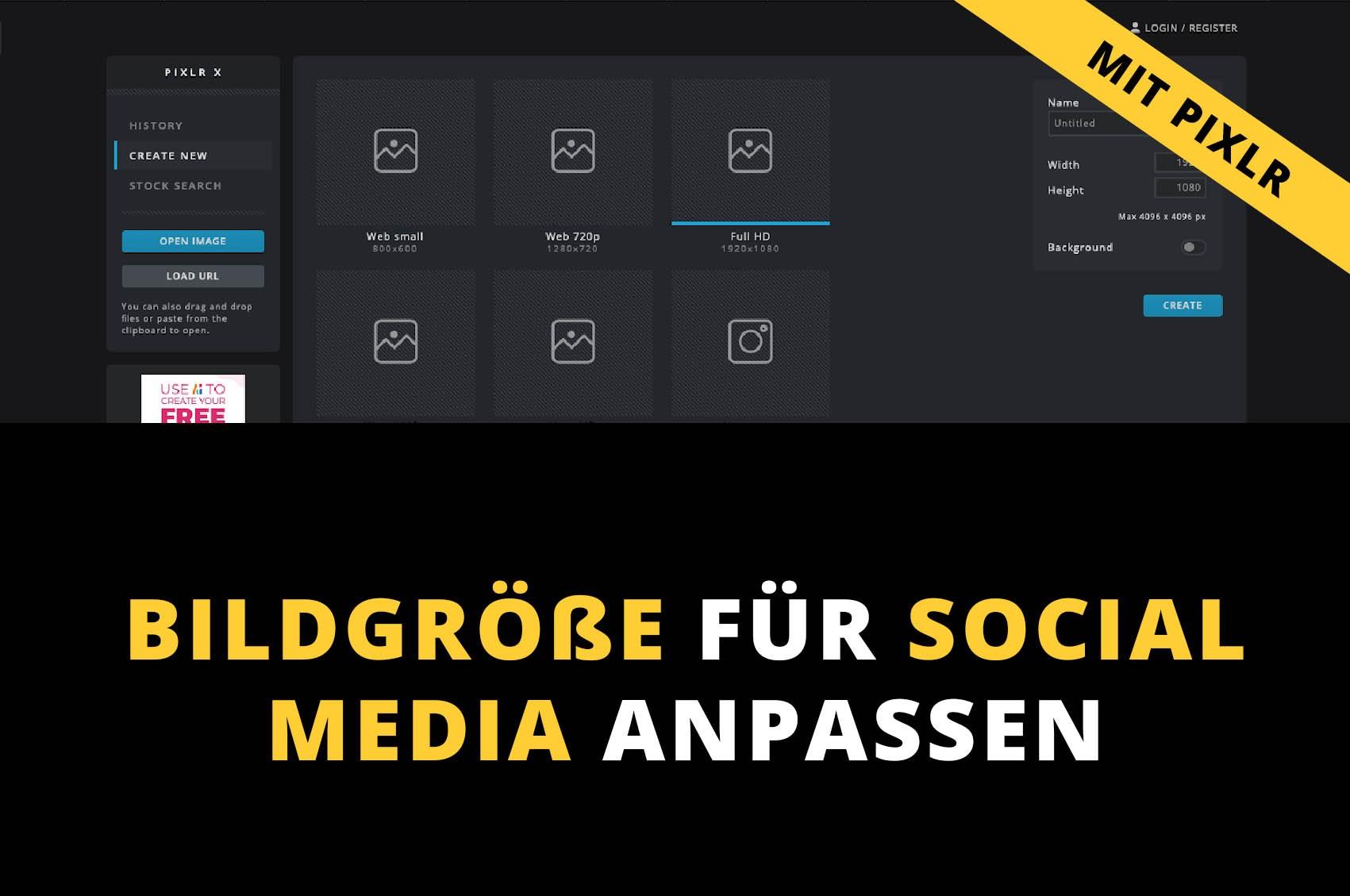 bildgroessen für instagram, facebook und co ändern